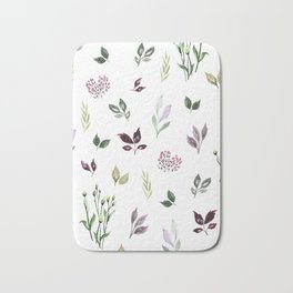 Tiny watercolor leaves Bath Mat