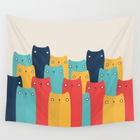 cats Wall Tapestries featuring Cats by Volkan Dalyan