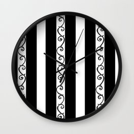 Stripes and Thorny Vines by Dark Decors - Black and Whites Wall Clock