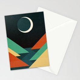 Quiet stream under crescent moon Stationery Cards
