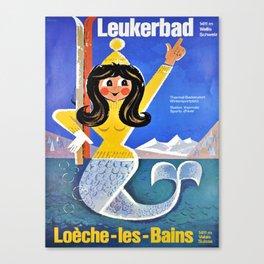 vintage leukerbad station thermale et Canvas Print