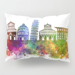 Pisa skyline in watercolor background Pillow Sham