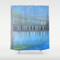 bridge Shower Curtains featuring Bridge by Liz Mahoney