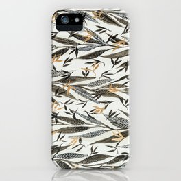 Black Gold Leaves iPhone Case