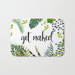 Get Naked Quote, Tropical Palm Leaf Jungle Bath Mat