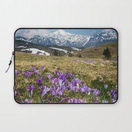 Mountains and crocus flowers on Velika Planina, Slovenia Laptop Sleeve