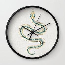 Snake Skeleton – Emerald & Gold Wall Clock
