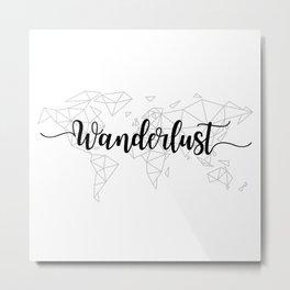 Wanderlust geometric world map Metal Print