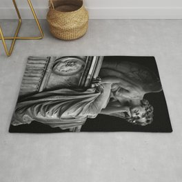 Giulio Monteverde and the Angel of the Night in Campo Verano black and white photograph / art photography Rug