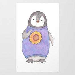 Baby Penguin in purple sweater Art Print