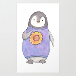 Baby Penguin in purple sweater Art Print
