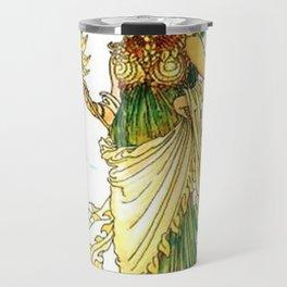 Vintage Sunflower Lady Goddess Travel Mug