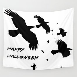 Happy Halloween Murder of Crows  Wall Tapestry