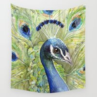 peacock Wall Tapestries featuring Peacock by Olechka