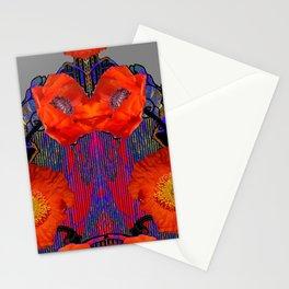 Modern Art Nouveau Fiery Orange Poppy Flowers Purple Art Stationery Cards