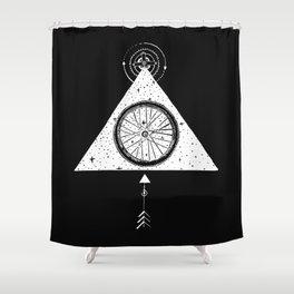 geo black bike Shower Curtain