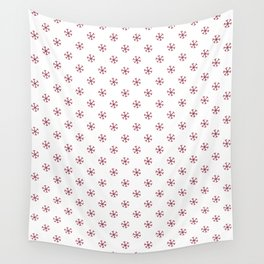 Burgundy Red on White Snowflakes Wall Tapestry