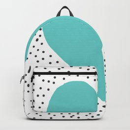 Turquoise heart with grey dots around Backpack