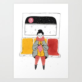Moments in New York: Knitting on the train Art Print