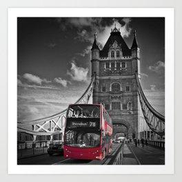 LONDON Tower Bridge & Red Bus Art Print