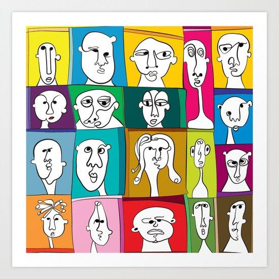 funny faces Art Print
