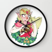 the legend of zelda Wall Clocks featuring ZELDA by aadizooke