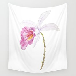 one pink orchid flower watercolor  Wall Tapestry