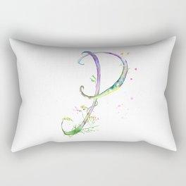 Letter P watercolor - Watercolor Monogram - Watercolor typography - Floral lettering Rectangular Pillow