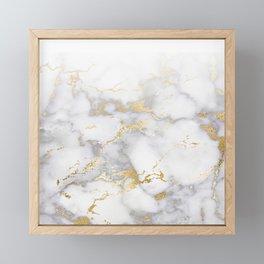 Blush chic faux gold gray gradient marble Framed Mini Art Print
