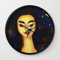 frida kahlo Wall Clocks featuring Frida Kahlo by ArtSchool