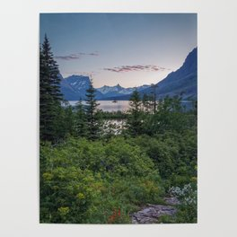 WILD GOOSE ISLAND SUNSET - GLACIER NATIONAL PARK MONTANA - LANDSCAPE NATURE PHOTOGRAPHY Poster