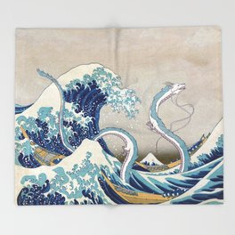 Haku and the Great Wave Throw Blanket