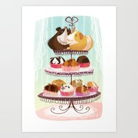 blankets Art Prints featuring Petit Pigs sans Blankets by Steph Laberis