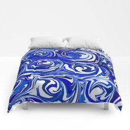 China Blue Paint Swirls Comforters