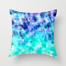 modern boho blue turquoise watercolor mermaid tie dye pattern Throw Pillow