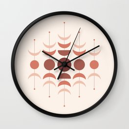 Moon Phases in Terracotta Color Shades Wall Clock