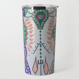 Day Of The Dead Cow (Purple & Orange) Travel Mug