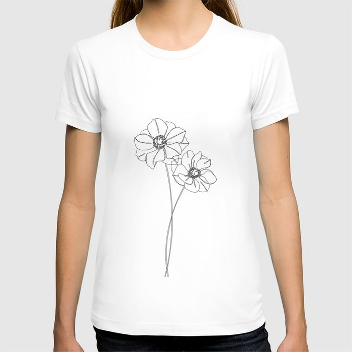 Botanical illustration line drawing - Anemones T-shirt