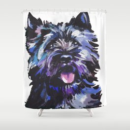 Fun Black Cairn Terrier bright colorful Pop Art Dog Portrait by LEA Shower Curtain