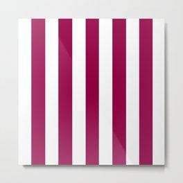Rose garnet violet - solid color - white vertical lines pattern Metal Print