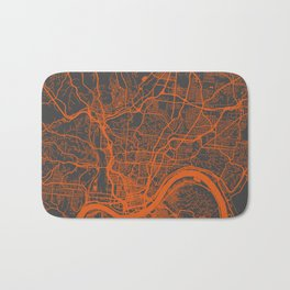 Cincinnati map orange Bath Mat