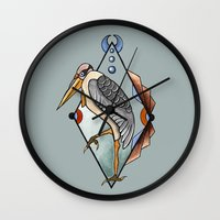 "crane Wall Clocks featuring ""CRANE"" by Magdalena Sky - The Moth"