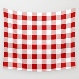 Red and White Check Wall Tapestry