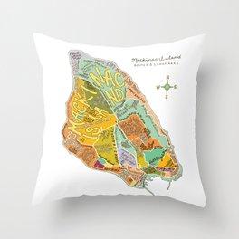 Mackinac Island Illustrated Map Throw Pillow