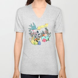 Tea Time With Flowers Unisex V-Neck