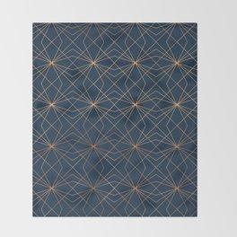 Navy & Copper Geo Lines Throw Blanket