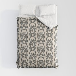 Modern Farmhouse Scroll Ikat Pattern - Cream Ink Black Comforters