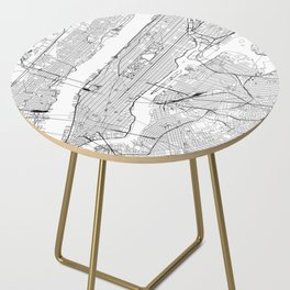New York City White Map Side Table
