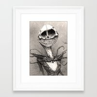 jack skellington Framed Art Prints featuring Jack Skellington by The Art of Austen Mengler