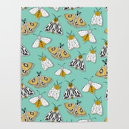 MAGIC MOTHS on Turquoise Poster